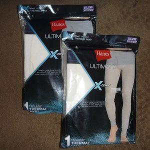 Two Pairs HANES Ult Thermal Pants Long Underwear